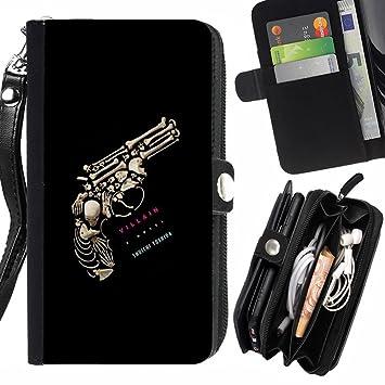 Modelo colorido del monedero de la bolsa de la pistolera de cuero y caja de TPU Funda (2-en-1) para Huawei Ascend P7 , (Revolver gaviota esqueleto profundo significado) : Amazon.es: Electrónica