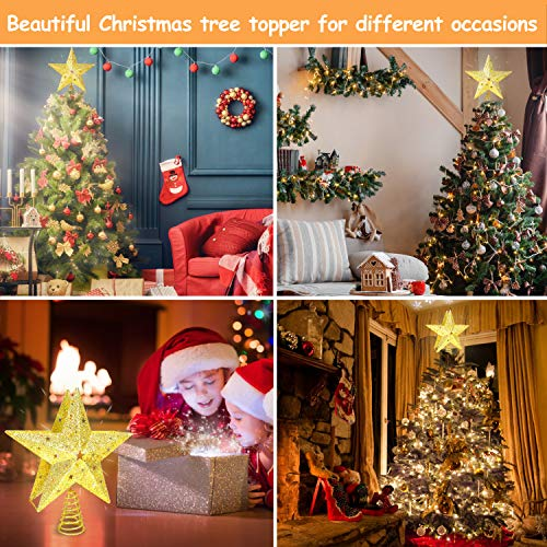 Christmas Tree Topper Lighted with Bulit-in LED Projector Snowflake Moving Light Effect, 3D Hollow Glitter Star Tree Topper Plug-in Powered, 9.6