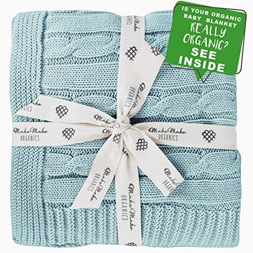 MakeMake Organics Organic Baby Blanket GOTS Certified Organic Cotton Blanket Cable Knit Lightweight Super Soft Cozy All Season No Chemicals Natural Baby Boy Nursery Receiving Blanket (30x40 Teal Blue)
