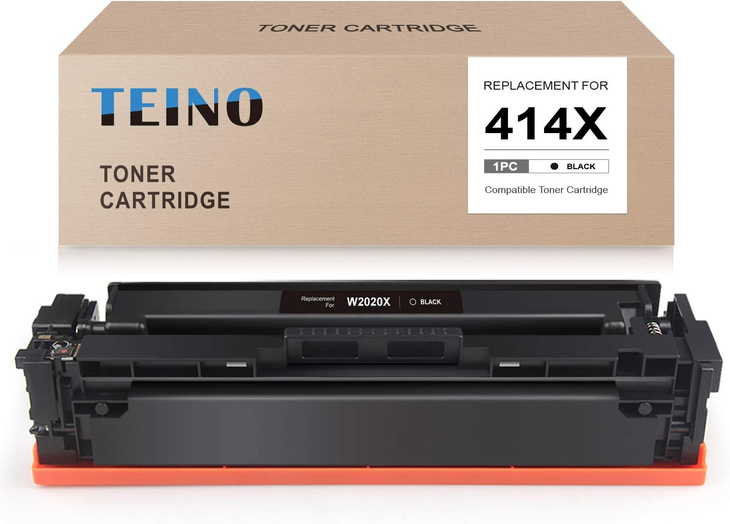 TEINO (No Chip) Compatible Toner Cartridge Replacement for HP 414X 414A W2020X W2020A use with HP Color Laserjet Pro MFP M479fdw M479fdn Color Laserjet Pro M454d M454dn (Black, 1-Pack)