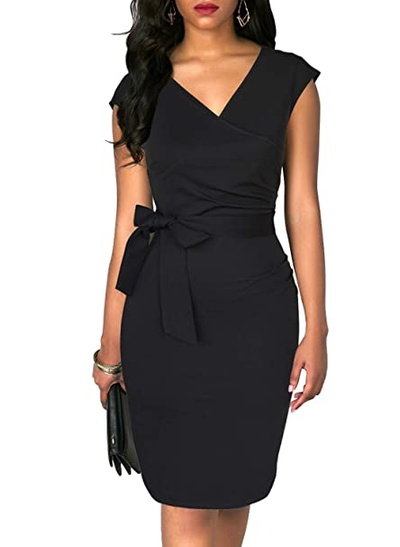 ad821b5196 TuoGo Women s Little Black Dress Wrap V-Neck Draped Stretchy Solid Sheath  Business Work Party