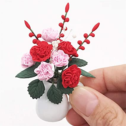 Dollhouse Miniature 1:12 Toy Flowers And Fruit Hanging Basket Doll House Decor#b