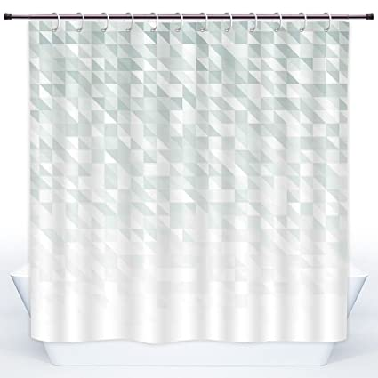 SCOCICI Funky Shower CurtainGreyFaded Cubes And Triangles Abstract Mosaic With Digital Effects