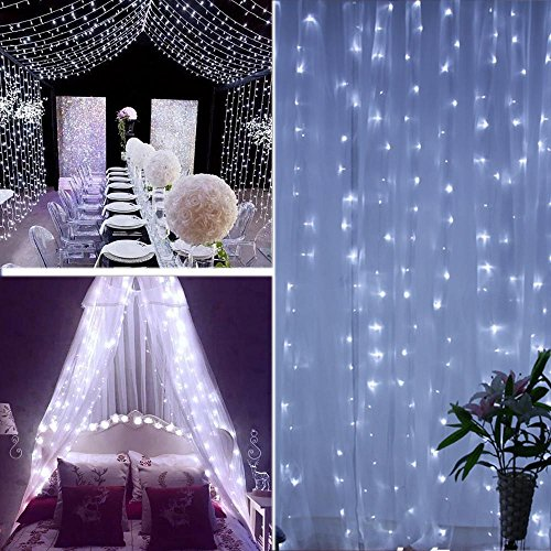 AOLVO Battery Operated 300 LED Curtain String Lights, 9.8 X 9.8ft Starry Fairy Decorative String Lights for Christmas, Wedding, Bedroom, Bed Canopy, Garden, Patio, Outdoor Indoor Wall Decor ()