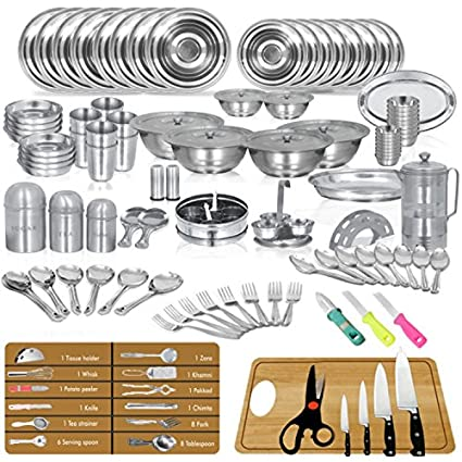 Buy Stainless Steel Kitchenware Dinner Set Of 111 Pcs Sagene