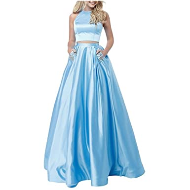 SUJIA Womens Two Pieces Long Satin Prom Dresses Evening Party Gown With Pocket Crystals SUJIA142