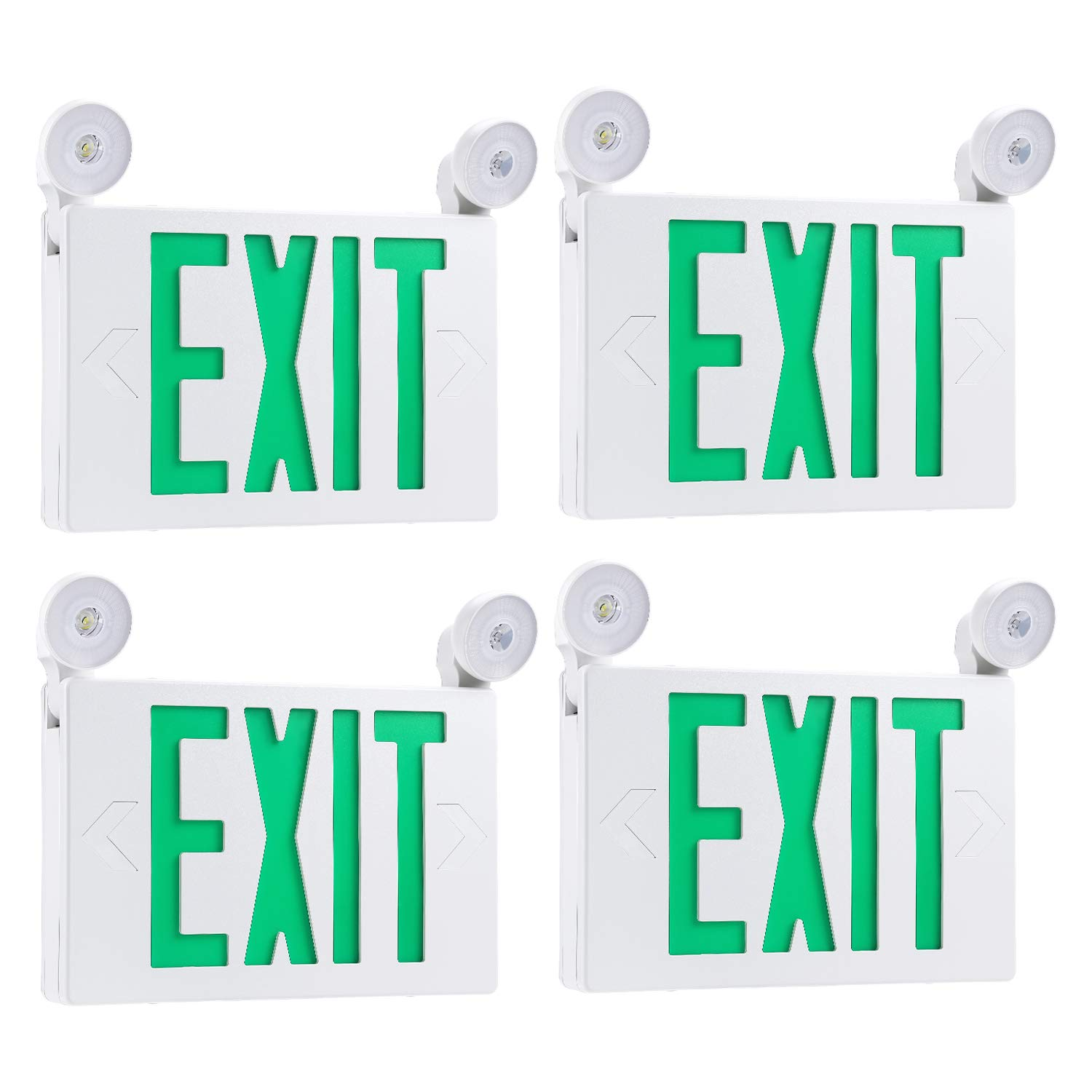 TORCHSTAR Green LED Exit Sign with UL Listed Emergency Light, AC 120V/277V, Battery Included, Top/Side/Back Mount Sign Light, for Hotels, Restaurants, Shopping Malls, Hospitals, Pack of 4