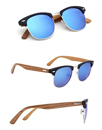 4c9d72a0505 TIJN Wooden sunglasses Semi-Rimless Half Frame Mirrored Polarized Sunglasses  for Men  Amazon.co.uk  Clothing