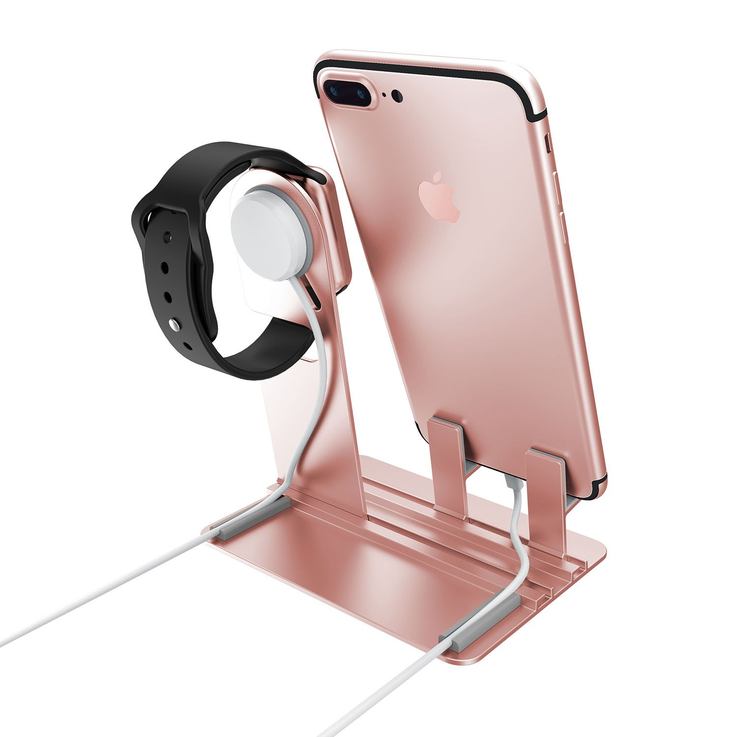 Apple Watch Stand, Apple Watch Charging Holder, Qiandy Smart Watch Charging Docks Station Charger Stand for Apple Watch Series 3/2/1/iPhone X/8/8Plus/7/7 Plus/6S/6S Plus/AirPods/iPad (Pink) by Qiandy (Image #3)
