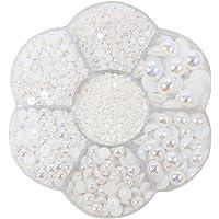 Approx 5600pcs Mixed Size DIY Half Pearl Bead Flat Back Plastic Craft Plastic Box (AB White)