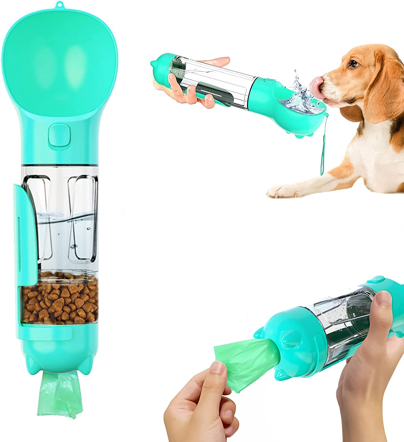 Dog Water Bottle Multifunction 4 in 1 Portable Dog Cat Water Dispenser with Food Container and Poop Collection Leak Proof Compact Pet Drinking Bottle for Walking Travel Outdoor (300ml, Blue)