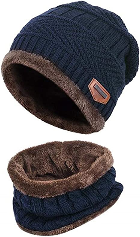 Adorel Mens Warm Beanie Hat and Neck Scarf Set Winter