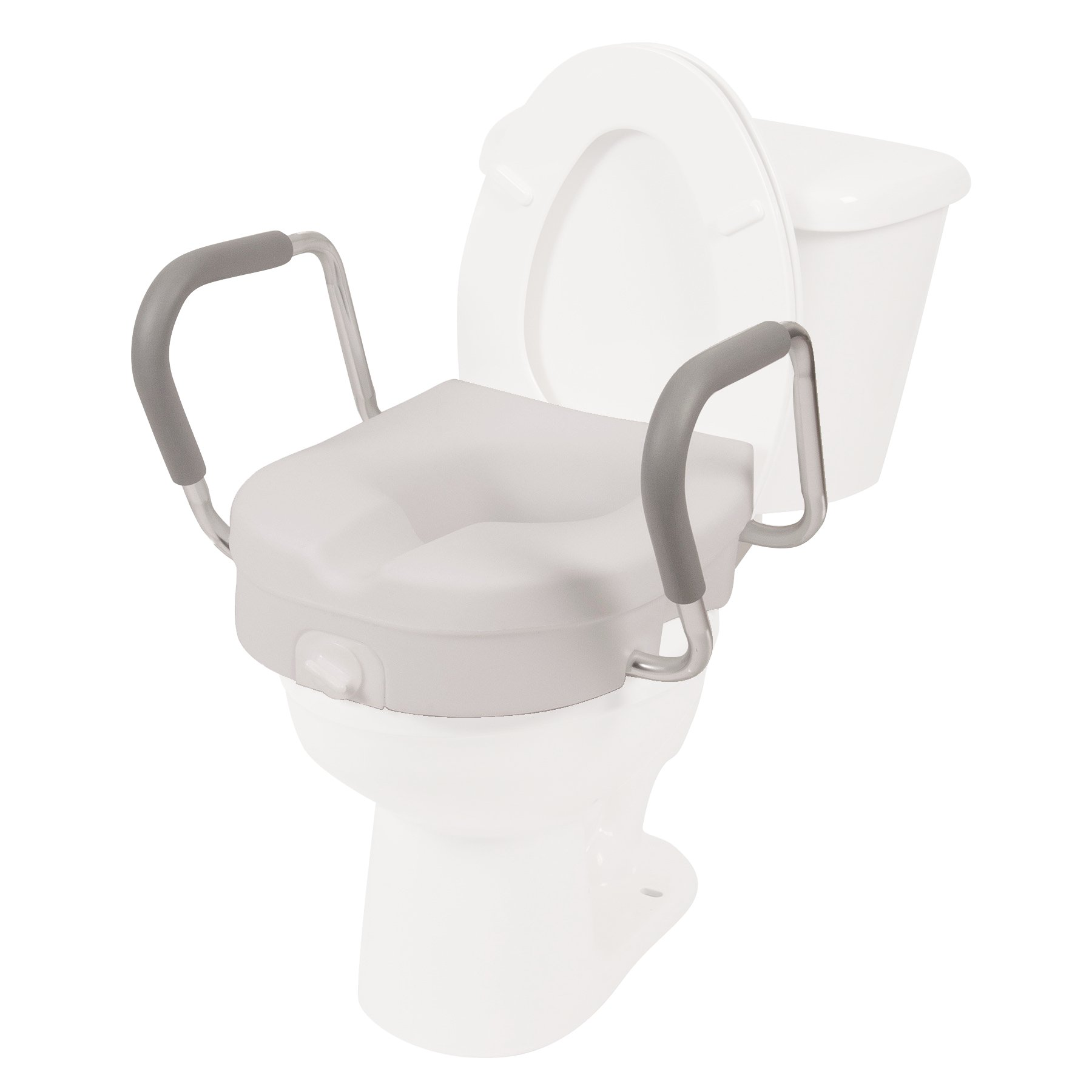 PCP 5'' Elevated Toilet Seat, Removable Arms, Raised Lift with Tightening Stability Lock, Portable Bath Safety Commode Support, Made in USA by PCP