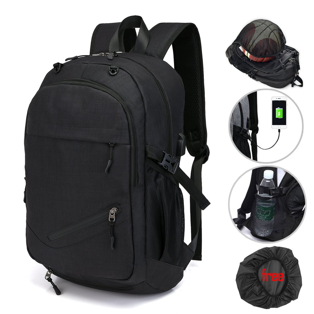 Laptop Bags, Backpack with Basketball Nets Mesh Sports Business Backpacks,Casual Travel Daypack Computer Shoulder Bag with USB Charging Port,Rain proof cover Fits UNDER 15 inch (Black)