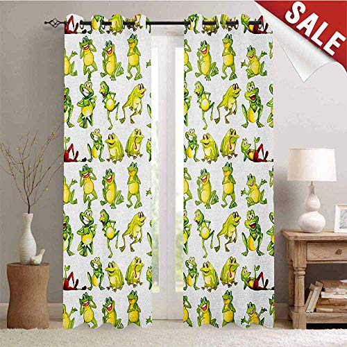 Nursery Gromets Curtain Decoration Drapes for Bedroom, Frogs in Different Positions Funny Happy Cute Expressions Faces Toads Cartoon Party Darkening Curtains, Green Yellow Red, W72 x L63 - Happy Frog Nursery