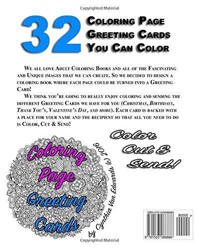 Amazon.com: Coloring Page Greeting Cards - Color, Cut, Fold & Send ...