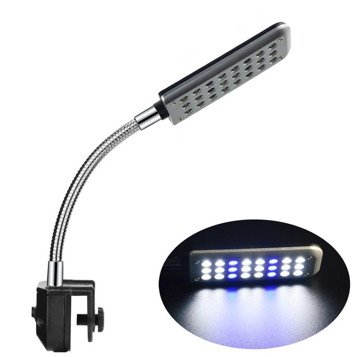 ECTENX LED Aquarium Light, Fish Tank Light, 24 LEDs, Clip on Fish Tank Lighting Color with White&Blue