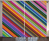 Colorful Curtains by Ambesonne, Vibrant Toned Narrow Diagonal Lines Pinstriped Angular Pattern Digital Style Print, Living Room Bedroom Window Drapes 2 Panel Set, 108W X 63L Inches, Multicolor