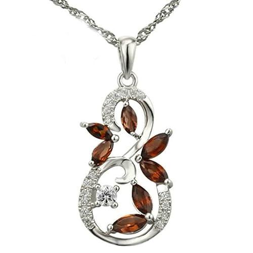 4d9fd2bfa2a8 gnzoe joyas mujer Collar 925 Plata hojas Botella calabaza forma colgante  cadena de plata elegante mujer cadena plata rojo tamaño 1.25 x 2.34 cm con  ...