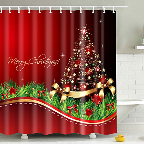 BROSHAN Merry Christmas Shower Curtain Fabric,Colorful Red Christmas Tree Popular Holiday Decoration Polyester Waterproof Mildew Resistant Bathroom Bath Curtain with Hooks,72x72 inch,Red and Golden