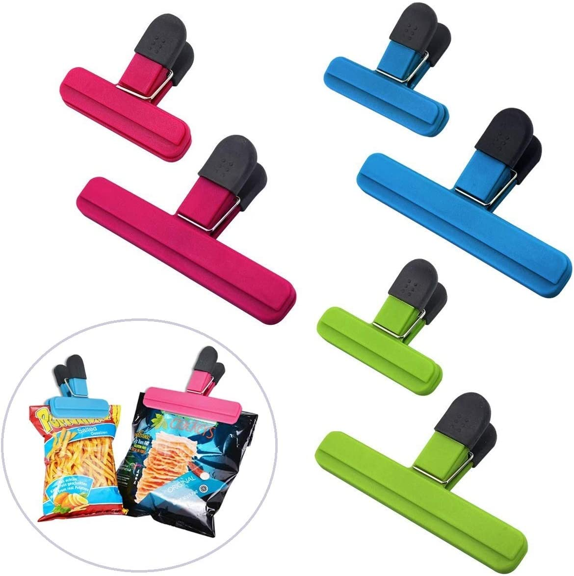 Large Chip Clips Food Clips Bag Sealing Clips with Good Grips Plastic Heavy Duty Air Tight Seal Grip Assorted Colors for Coffee Potato and Food Bags (6 Pcs)