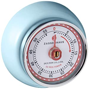 "Zassenhaus 60-Minute Magnetic Steel ""Retro"" Kitchen Timer, Light Blue"