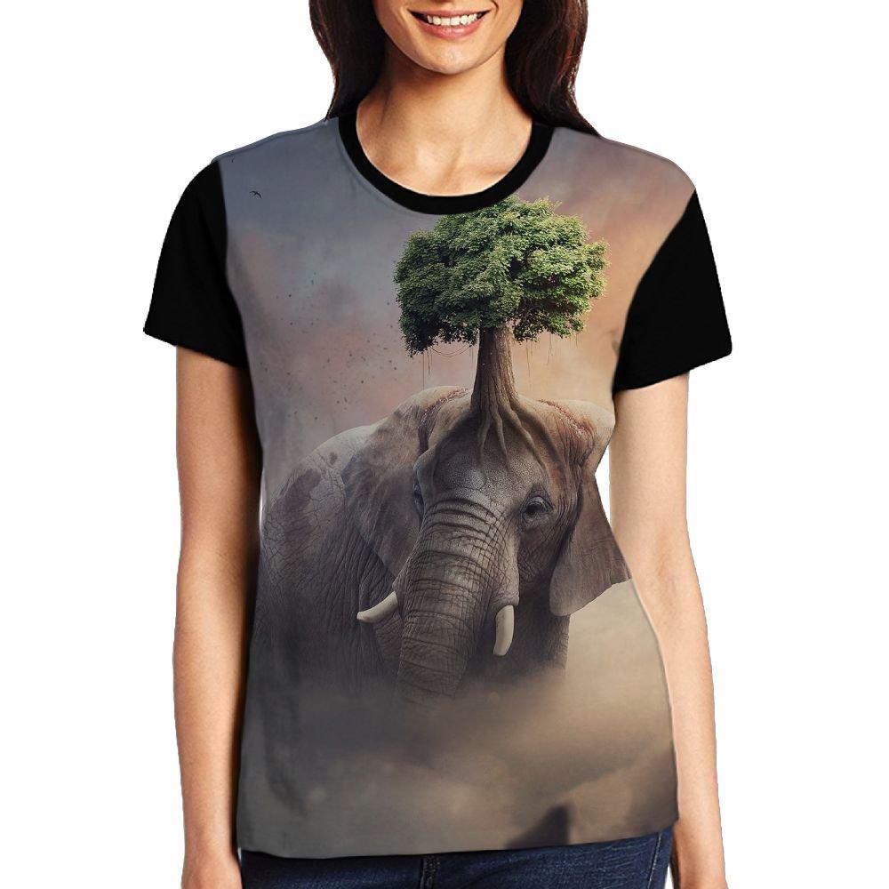 CKS DA WUQ Fantasy Elephant Tree Women's Raglan T-Shirt Casual Sport Baseball Tees Tops Undershirts