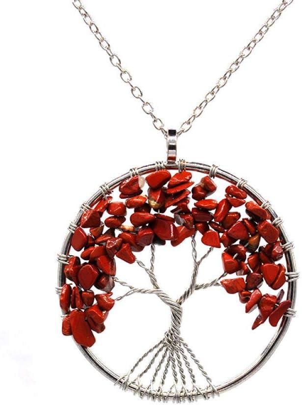 Collar Piedra para Mujer,7 Chakra Vintage Natural Jaspe Rojo Wrap Árbol De La Vida Colgante Hecho A Mano Delicada Cadena Larga De Cobre Gargantilla Reiki Equilibrio De Energía Encanto Regalo para