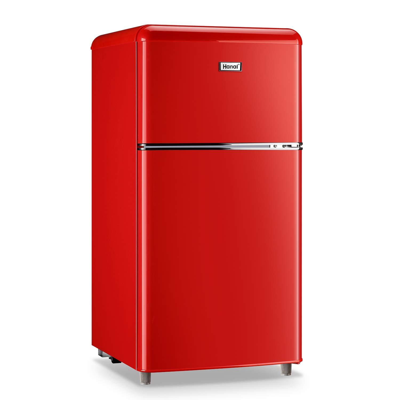 WANAI Compact Refrigerator,3.2 Cu.Ft Classic Retro Refrigerator 2 Door Mini Refrigerator,Adjustable Remove Glass Shelves Refrigerator Suitable for Dorm Garage and Office