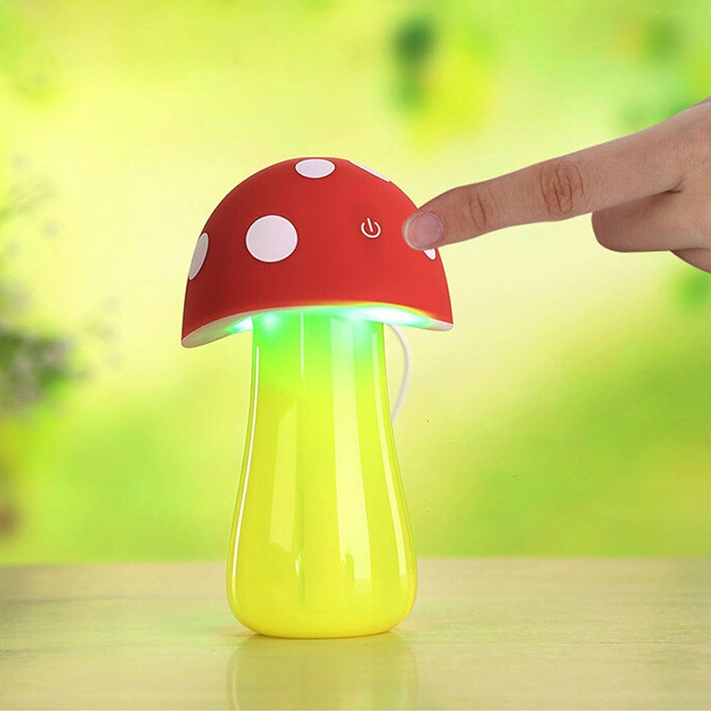 Topbeu Creative Mushroom Shape Ultrasonic Cool Mist USB Baby Room Bedroom Spa Car Humidifier with Auto Shut-off Function (Red) by Topbeu (Image #3)