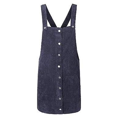 db0edb4d75b5df Kanpola Kleider Damen Herbst Cord Straps Kurze Tasche gerade Weste Rock  Kleid (S/Gr