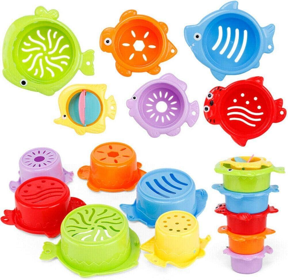 6PCS Juguete de ba/ño de juguete para ni/ños peque/ños de ba/ñera de playa Juguete de playa de la ba/ñera de juguete de tazas de apilamiento