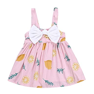 62853481b0a7 Amazon.com: Baby Toddle Girls Sleeveless Sundress Bow Tie Off Shoulder  Summer Casual Princess Party Printed Dress: Clothing