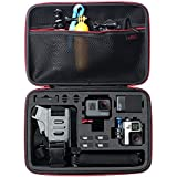 Large Carrying Case for GoPro HERO6,5,4,+LCD, Black, Silver, 3+, 3, 2 and Accessories by HSU with Fully Customizable Interior Carry Handle and Carabiner Loop