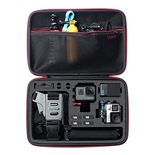 Large Carrying Case for GoPro HERO(2018),HERO6,5,4,+LCD, Black, Silver, 3+, 3, 2 and Accessories by HSU with Fully Customizable Interior Carry Handle and Carabiner Loop by HSU
