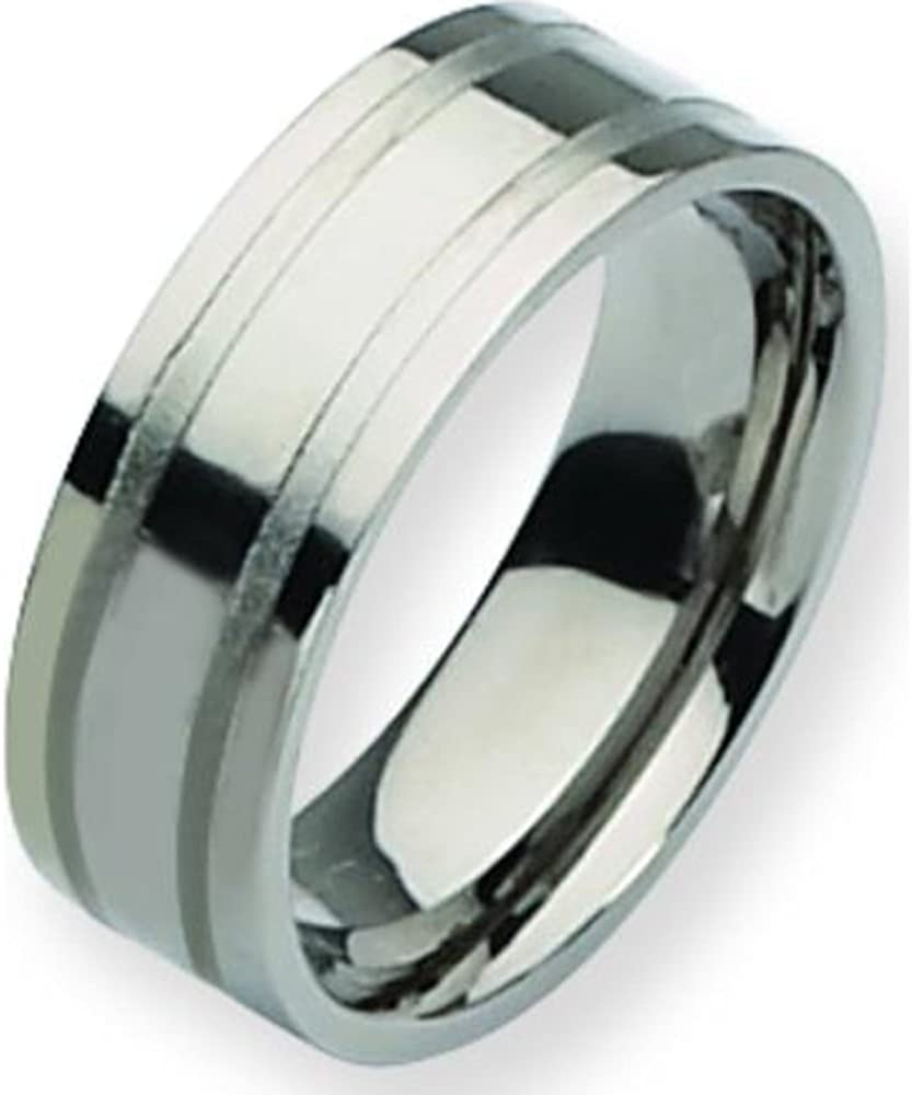 Titanium Grooved 8mm Mens Wedding Ring Band Size 9
