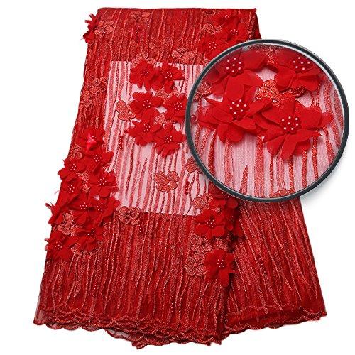 Photo 5: Le Dernier Tissu Appliqué Dentelle Net Africain Rouge Avec Des Perles De Bonne Qualité Tulle Français 3d Tissu De Dentelle Pour Robe De Soirée Amy889b-1