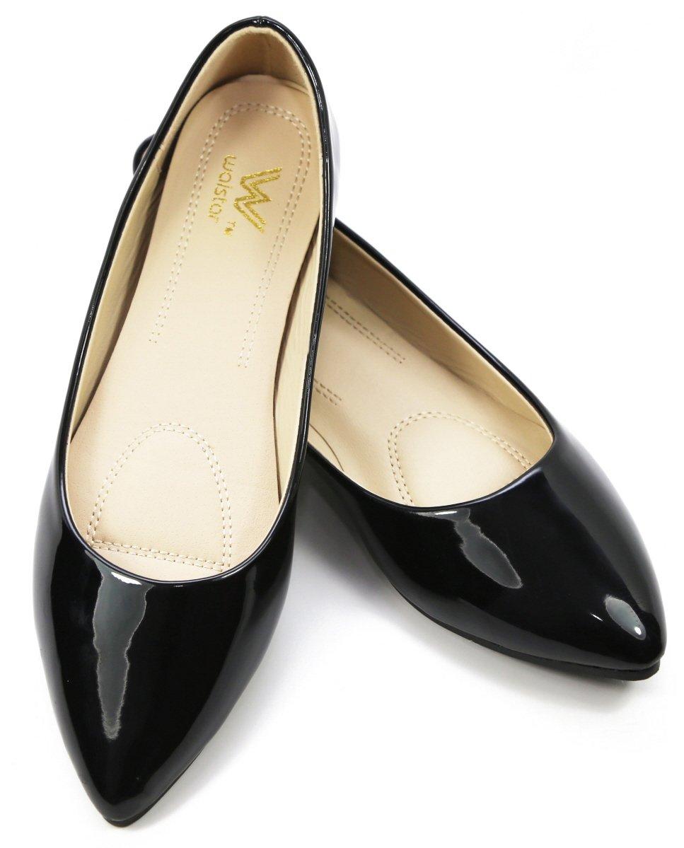 Walstar Women's Basic Point Toe Ballet Flats B0160DBLUI 7 B(M) US|Black Patent