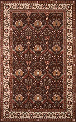 Momeni Rugs PERGAPG-12COO5080 Persian Garden Collection, 100% New Zealand Wool Traditional Area Rug, 5' x 8', Cocoa Cocoa Persian Garden