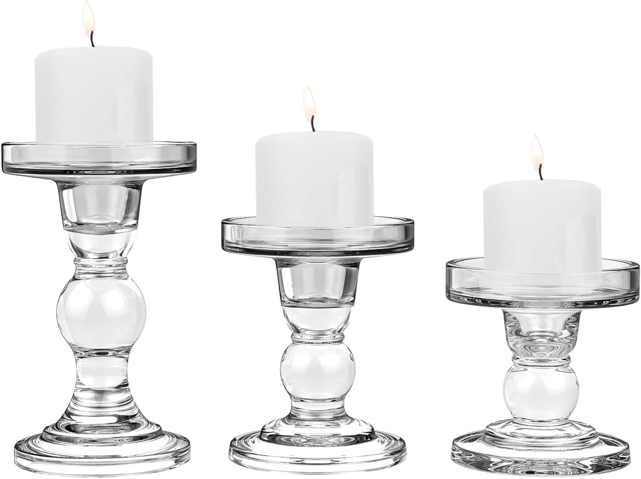 Lewondr Glass Candle Holder Set Of 3 Crystal Table Candlestick For 3 Pillar Or 3 4 Taper Candle Functional Table Decoration For Home Décor Wedding Party Clear Amazon Co Uk Kitchen Home