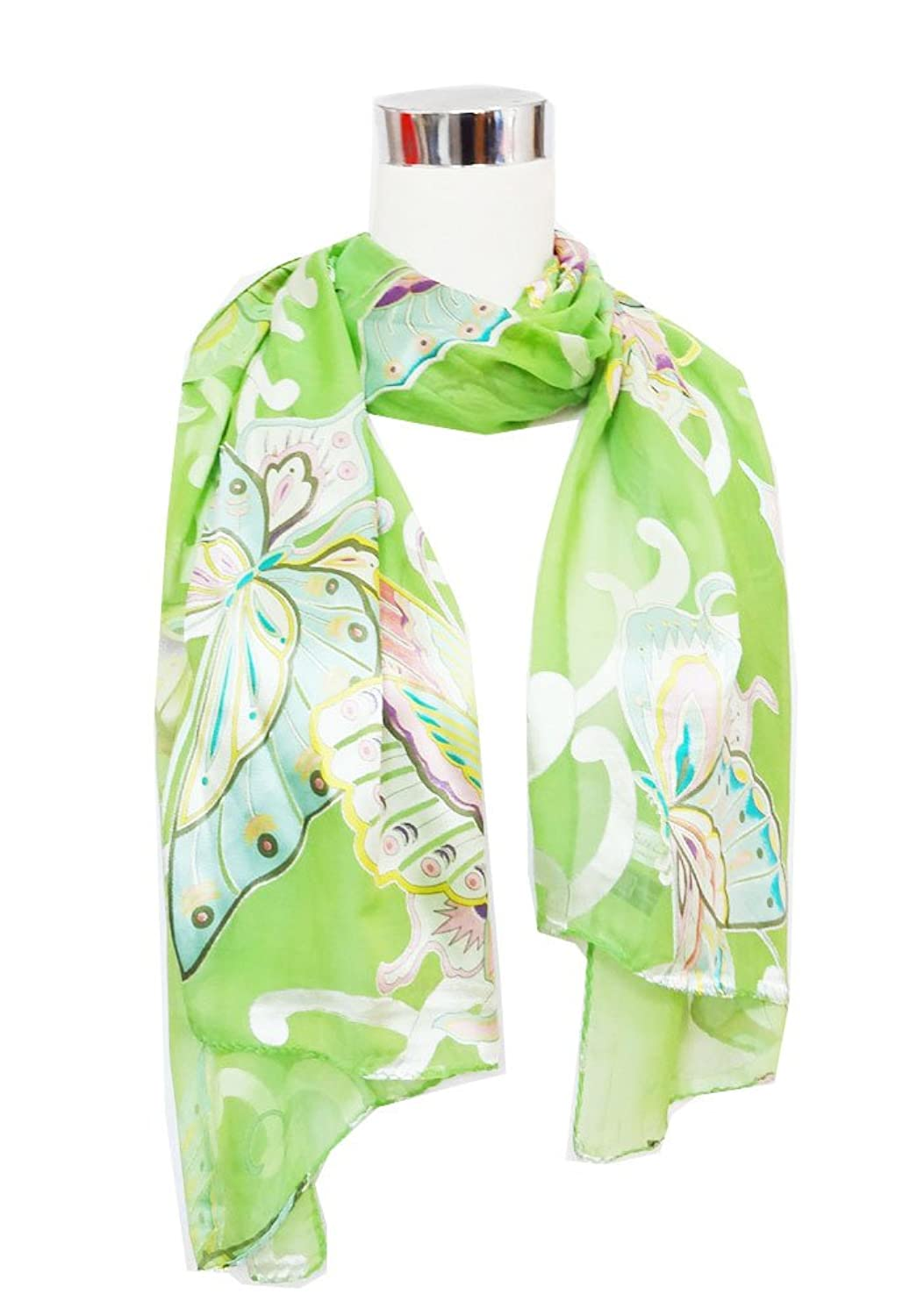 "Chiffon/Satin Blend Multicolored Butterfly Print on Avocado Green - Silk Long Scarf 20"" x 70"""