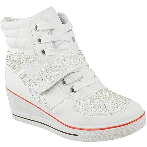 Fashion Thirsty de Mujer Altos Zapatillas Cuña Cordones Zapatillas Botines Pedrería Zapatillas Zapatos de Heelberry: Amazon.es: Zapatos y complementos
