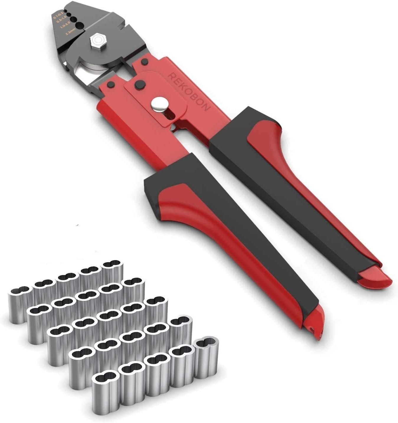 REKOBON 1/16 inch Wire Rope Crimping Cutting Tool with 100 PCS Aluminum Double Barrel Ferrule Crimping Loop Sleeves Kit