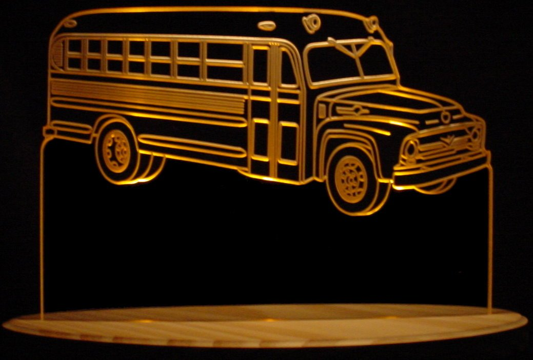 1956 School Bus Acrylic Lighted Edge Lit 13'' LED Bus Sign / Light Up Plaque 56 VVD3 Full Size USA Original