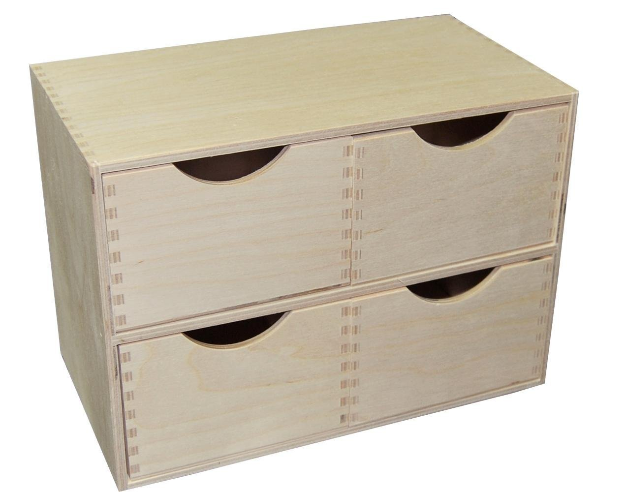 Decocraft PLAIN WOOD WOODEN BOX STORAGE CUPBOARD CHEST OF DRAWERS DECOUPAGE PYROGRAPHY 44r