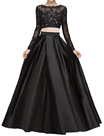 125056001c9 Bonnie Beaded Lace Bodice Two Piece Prom Dresses 2018 Long Sleeves Evening  Party Ball Gowns BS001