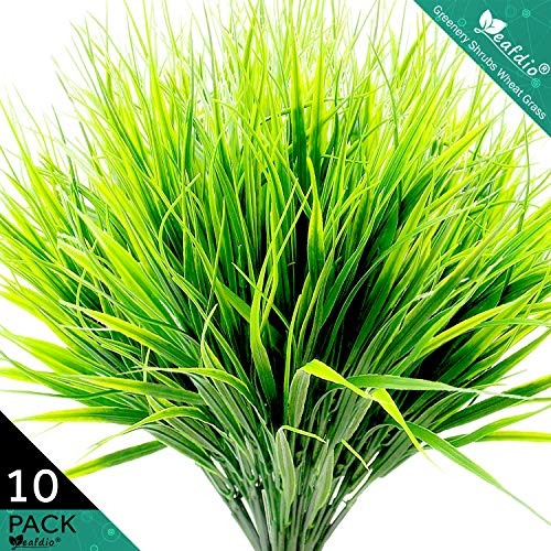 Leafdio Artificial Shrubs Bushes, Plastic Wheat Grass Green Leaves, 10 Pack Bulk, Fake Plants Greenery for Wedding Indoor Outside Home Garden Office Chrimas Party Decor UV Resistant (10Pcs)