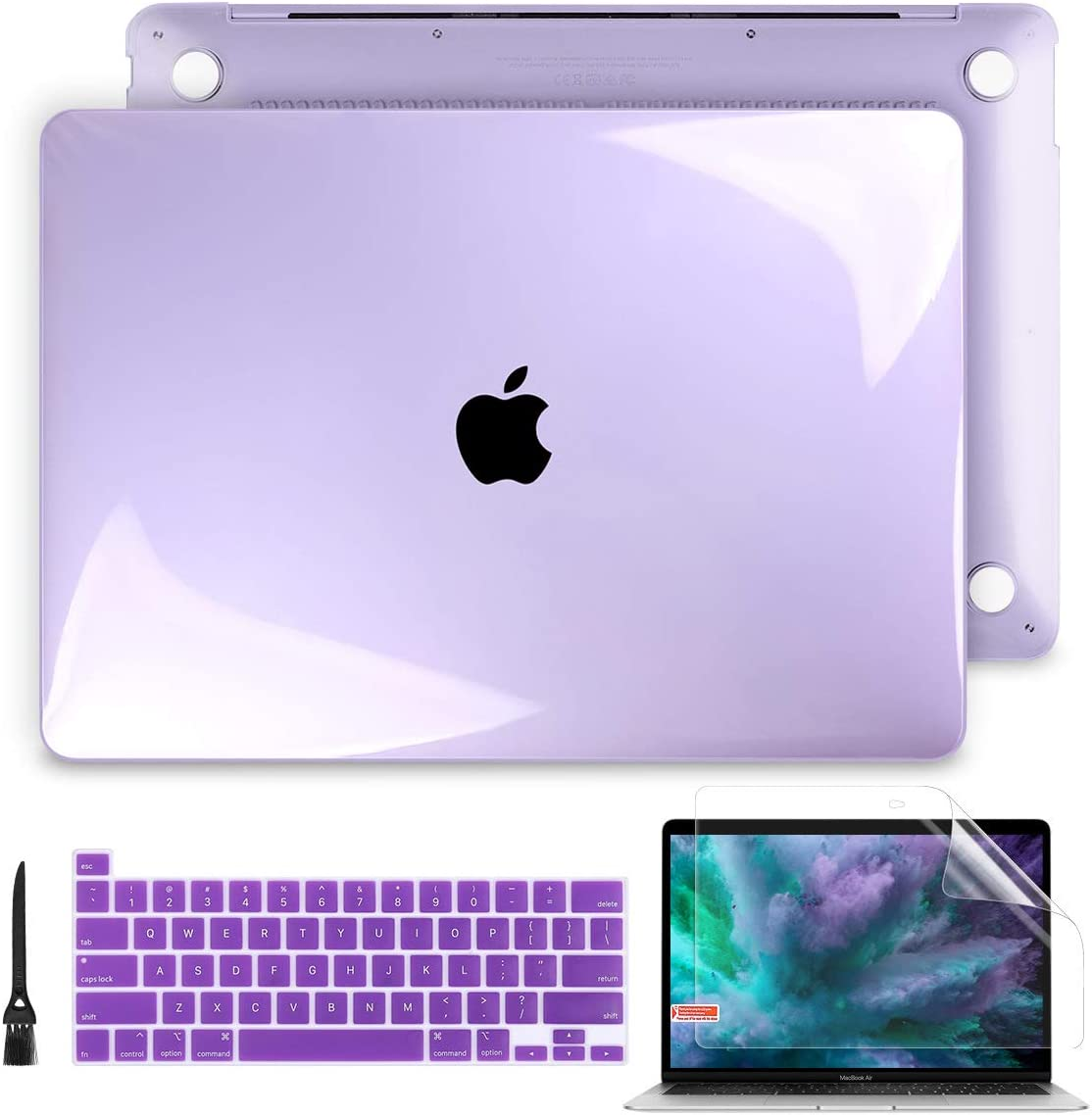 Batianda for MacBook Pro 13 Case A2289 A2251 Model (2020 Release), Crystal Hard Shell Case with Keyboard Cover & Screen Protector for Newest MacBook Pro 13 inch with Touch Bar, Crystal Purple