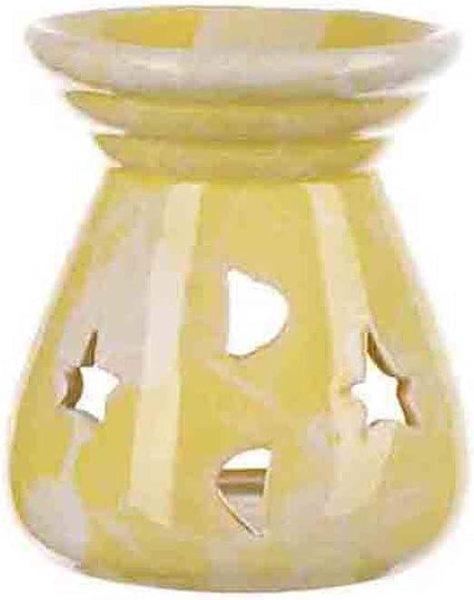 l/ámpara de vela de aromaterapia para la decoraci/ón de la oficina en el hogar Horno de aroma quemador de aceite esencial de cer/ámica de hierro geom/étrico