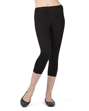 cb6c3e4f1fa2b MeMoi Priga Denim Capri Jean Leggings | Women's Premium Jean Leggings at  Amazon Women's Clothing store: